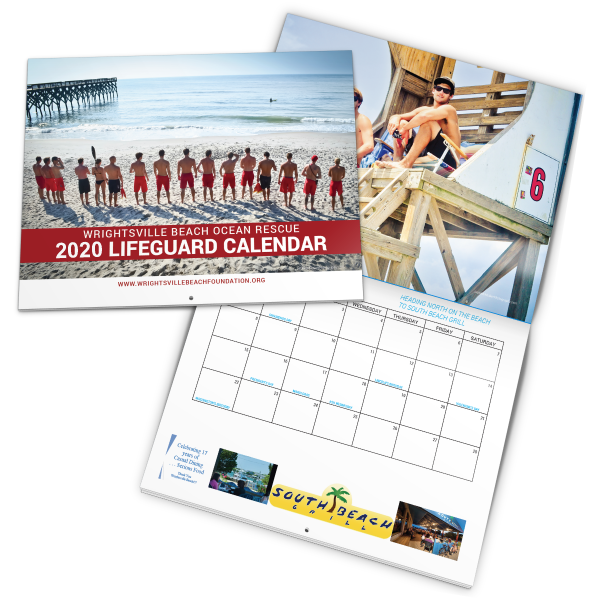 2020 calendar with lifeguards on the cover.