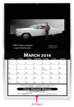 A custom calendar design showing ad space at the bottom