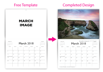 Example of our free calendar template and a completed calendar template design