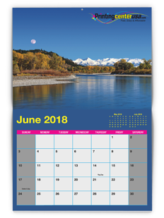 Example calendar showing theme colors that match our PrintingCenterUSA logo