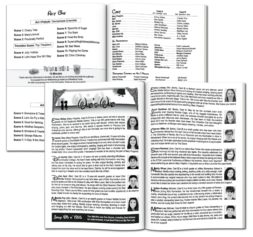 Play program Act 1/Act2/Cast & Crew pages