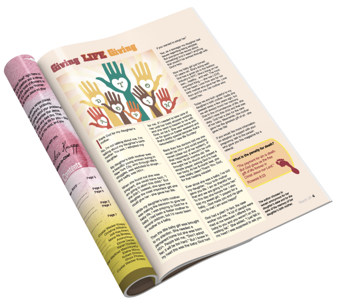 The inside of a magazine, Reach Up - The Magazine to Empower and Enrich Today's Woman.