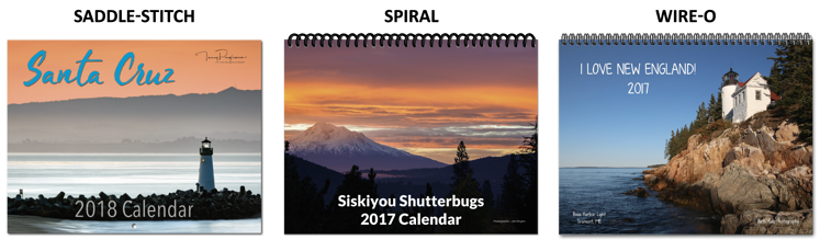 Saddle-Stitch, Spiral and Wire-O Calendar Examples