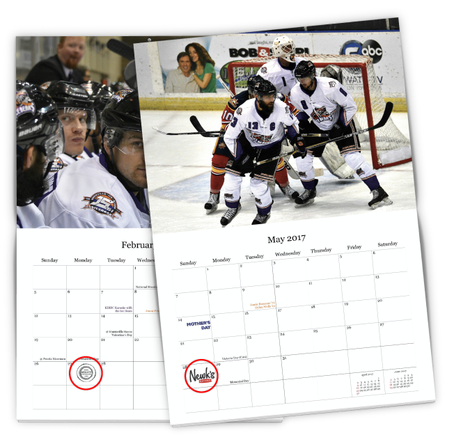 Example of advertising within a custom fundraising calendar