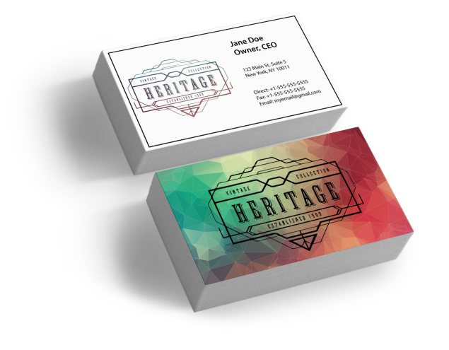 Business Card with an eye-catching front & informative back