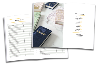 Table of Contents and Pricing Page in a Catalog Printing Project