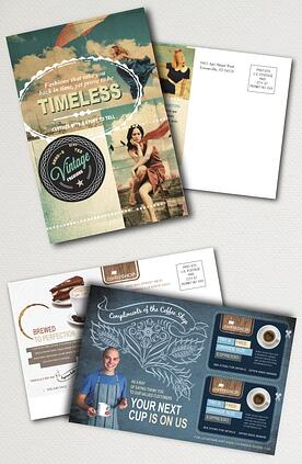vertical and horizontal postcard printing examples