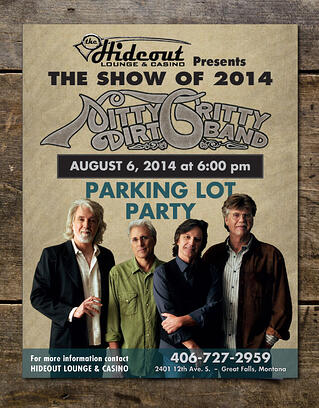 """Example flyer - """"Nitty Gritty Dirt Band"""" 2014 show"""