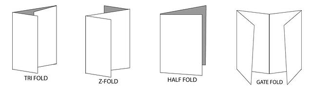 Image showing our Tri fold, Z fold, Half Fold and Gate Fold