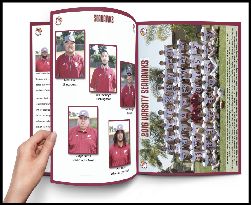 Inside football program pages with coaches and team photo