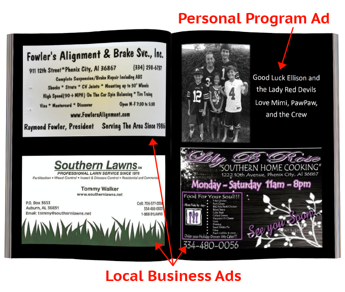 Example advertising pages