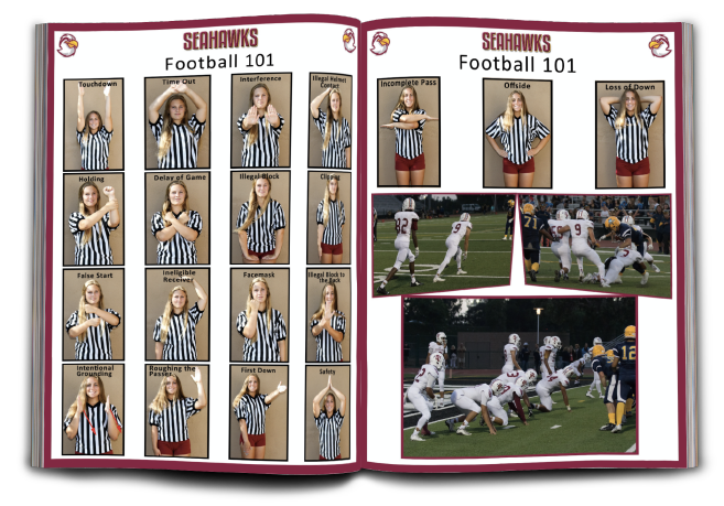 "Filler pages with ""Football 101,"" explaining the calls of the game"