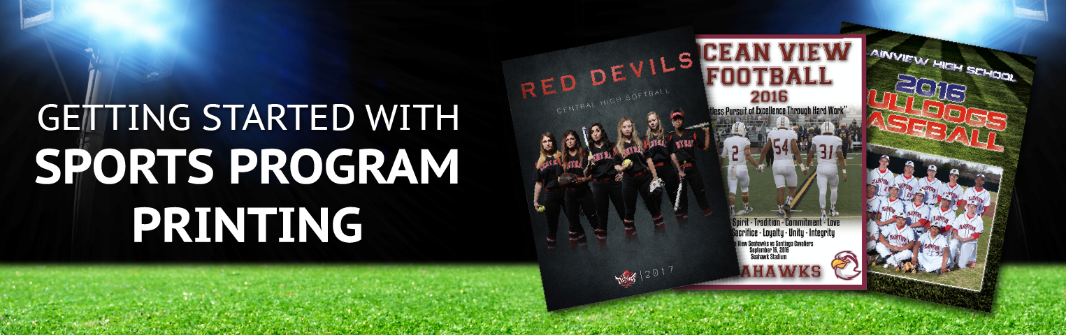 """Getting Started with Sports Program Printing"" Header with examples covers"