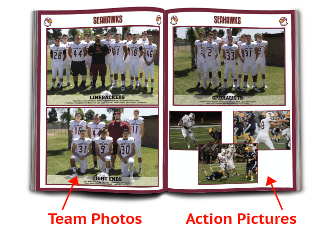 Example of relevant sports program pages showing team photos and action pictures