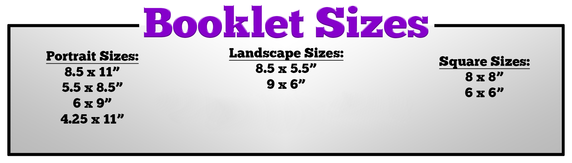 Booklet Printing Sizes