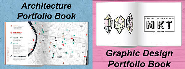 Architecture Portfolio Book Compared to Graphic Design Portfolio Book