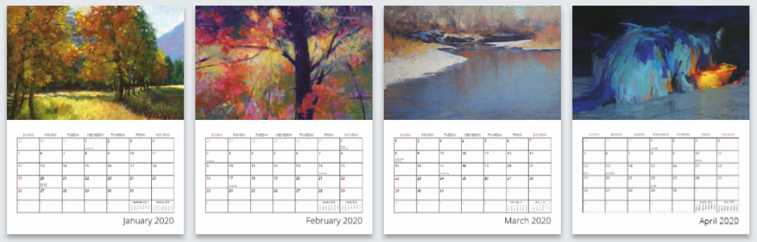 4 art calendars for the year 2020.