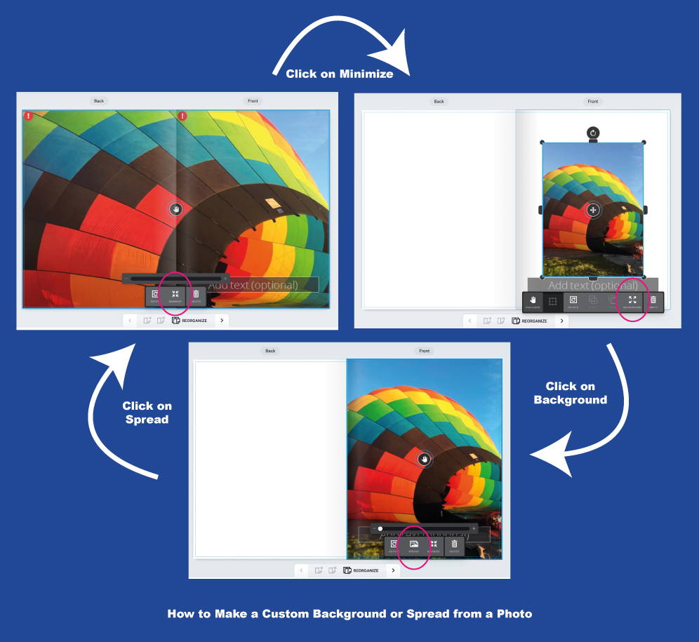 How to Make a Photo a Background or Spread on our Online Design Tool