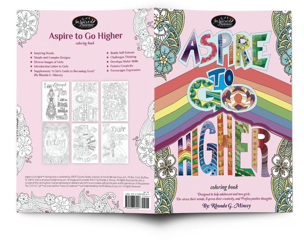 The front and back cover of the Aspire to Go Higher coloring book