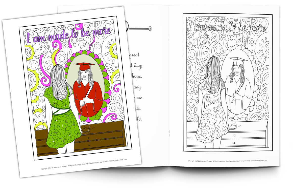 Partially colored example of the coloring book vs. black and white page