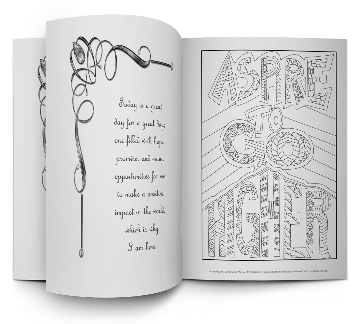 "Inside pages of ""aspire to go higher"" coloring book"