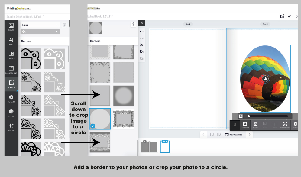 Borders Available for PrintingCenterUSA Online Photo Book Design Tool