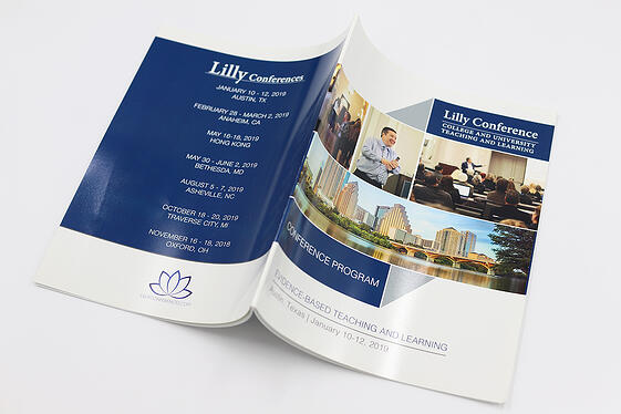 Conference program with high gloss finish used for speaking engagements.