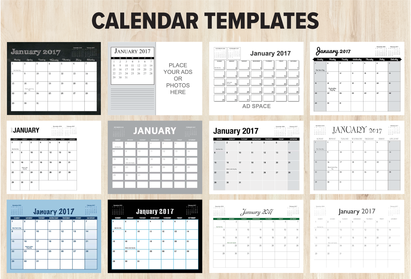 Our 12 Calendar Templates for the 8.5 x 11 Size