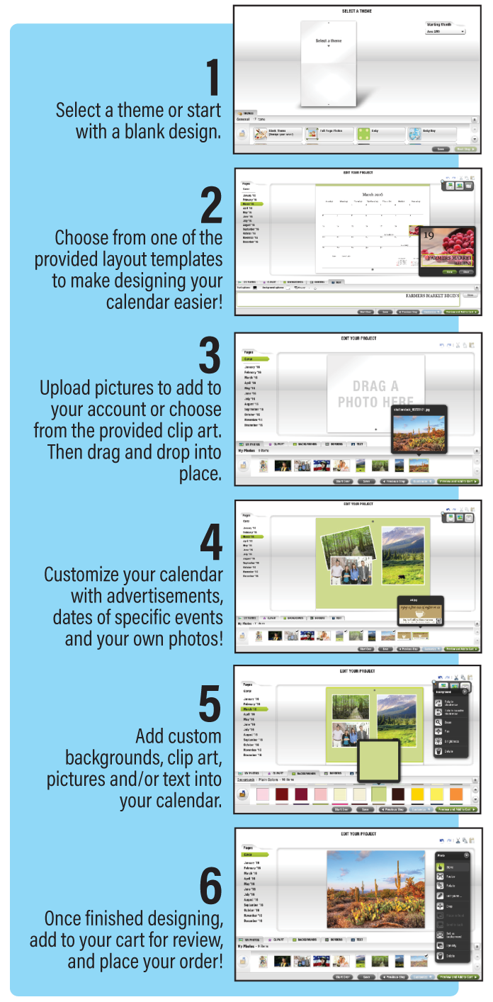 Step By Step How to Use our Calendar Online Design Tools