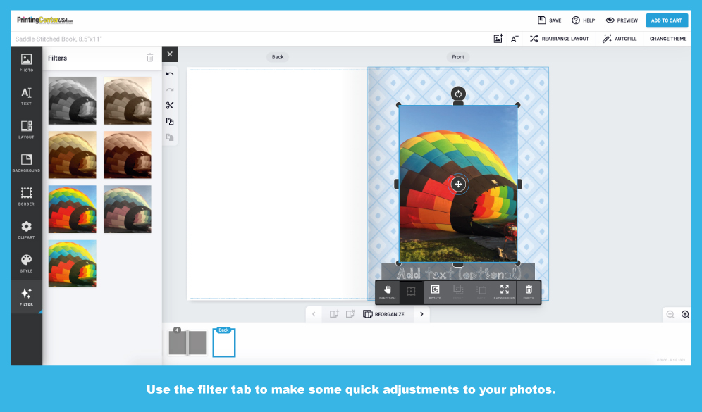 Filters Available on PrintingCenterUSA Online Photo Book Design Tool