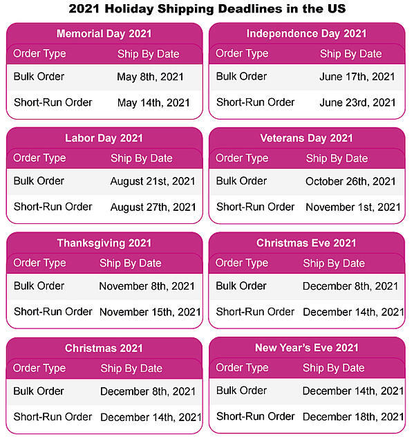 2021 Holiday Shipping Deadlines with PrintingCenterUSA