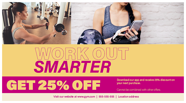 Example of a Great Gym Postcard with PrintingCenterUSA.com