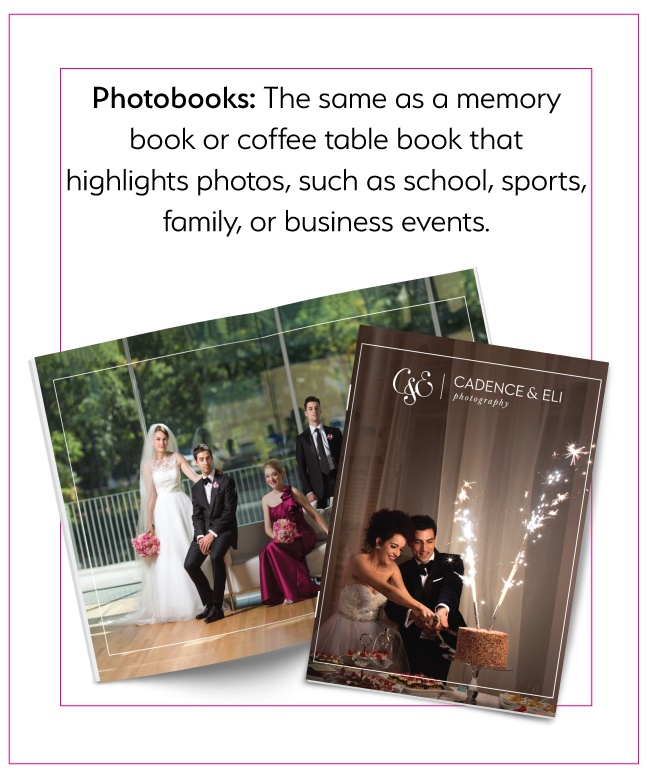 Photobooks: the same as a memory book - highlights photos, such as school, sports, family, etc.