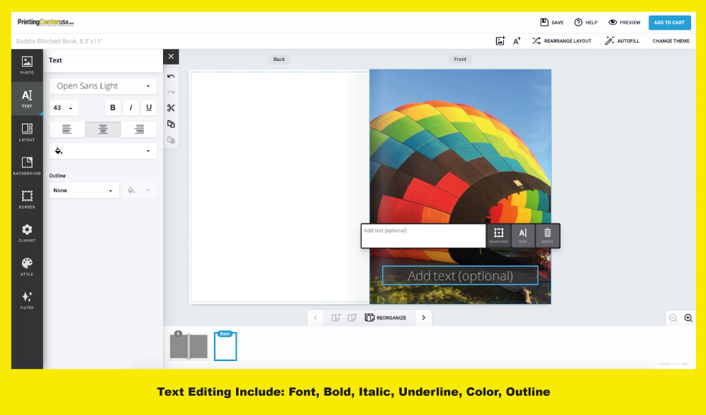 Text Editor in PrintingCenterUSA's Online Photo Book Design Tool