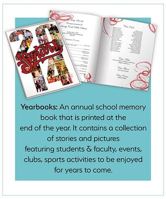 Yearbooks: annual school memory book printed at the end of the year