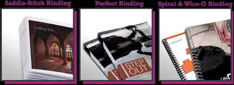 binding options - saddle stitch - perfect - spiral - wire-o