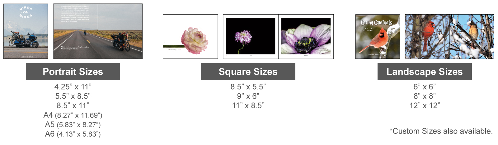 coffee table book sizes